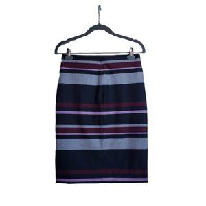 JOE FRESH Striped Slip On Skirt Front Slit XS